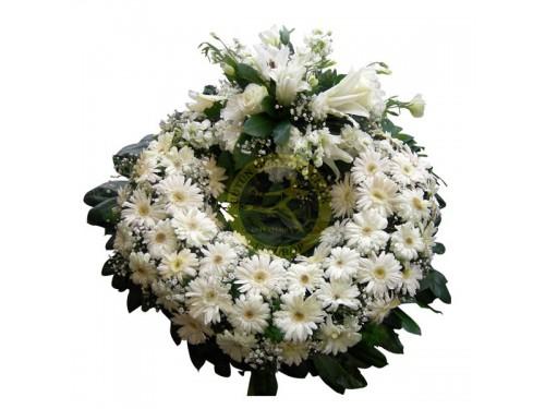 Beyaz Gerberalı Cenaze Simidi