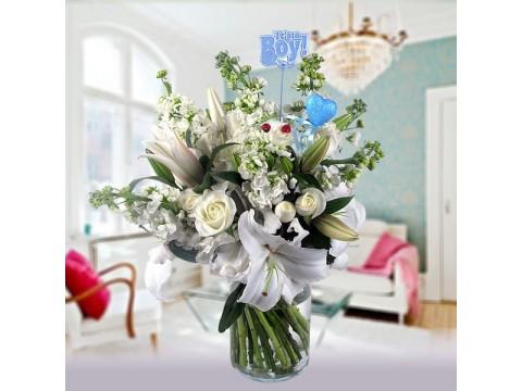 Beyaz lilyum ve mevsim çiçeklerinden Erkek Bebek Çiçeği